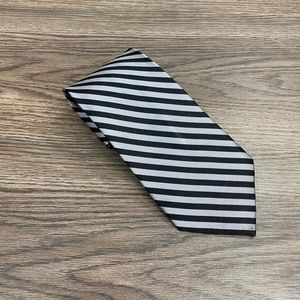 Jos A Bank Silver & Black Stripe Silk Tie
